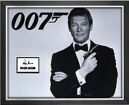 Roger Moore 'James Bond' Signed Presentation Framed