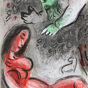 Marc Chagall: 'Eve Incurs God's Displeasure' Original Lithograph Framed
