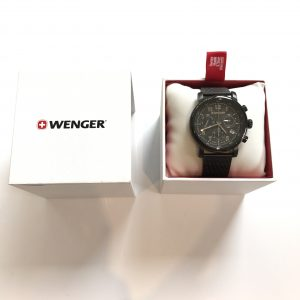 Men's Black Wenger Watch with Metal Strap