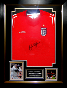 David Beckham England Signed Shirt Presentation Framed