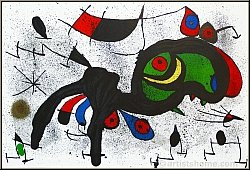 "Joan Miro: ""The Blooming Ram"" Large Original Lithograph Framed"